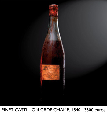 Pinet Castillon Grande Champagne 1840 Offered by Cognateque to 2012 Part des Anges Auction