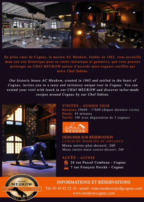 Cognac Meukow Visites and Culinary Lunches