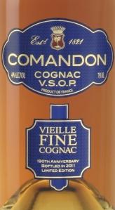 Comandon Cognac Very Superior Old Pale, Vieille Fine, VSOP