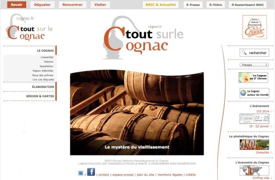 Screen Shot of Cognac.fr Website October 2014