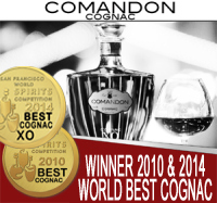 Comandon Cognac Banner, World best Cognac 2010 and 2014, WINNER OF THE WORLD SPIRITS COMPETITION IN SAN FRANCISCO
