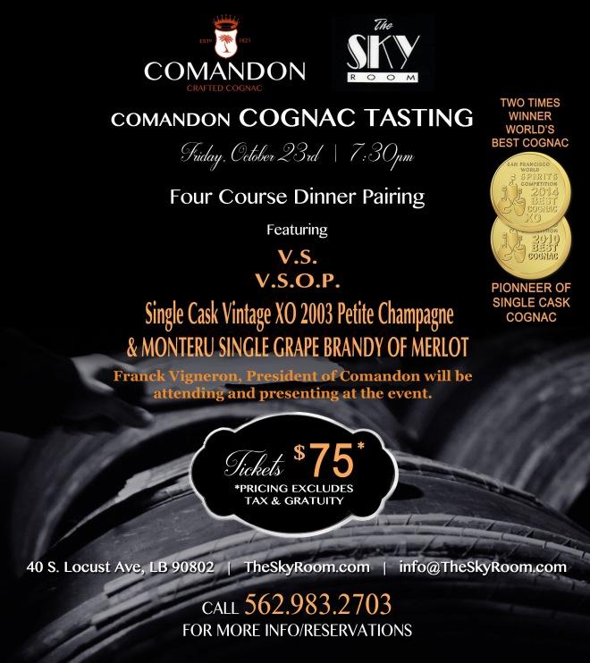 Comandon Cognac Pairing Dinner at the Skyroom Restaurant in Southern California
