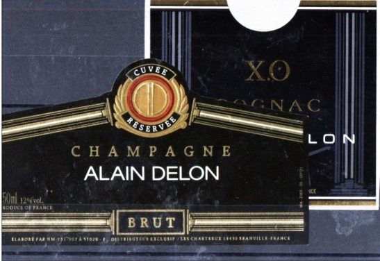 Alain Delon Cognac and Champagne labels