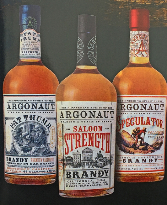 Argonaut Brandy, 3 different styles, produced by E&J Gallo